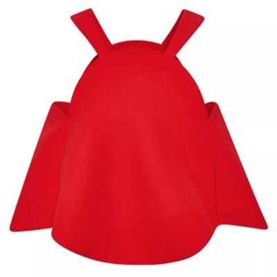 Red Cotton Crepe Gramophone Top