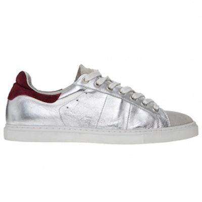 Leather Metallic Tennis Sneaker