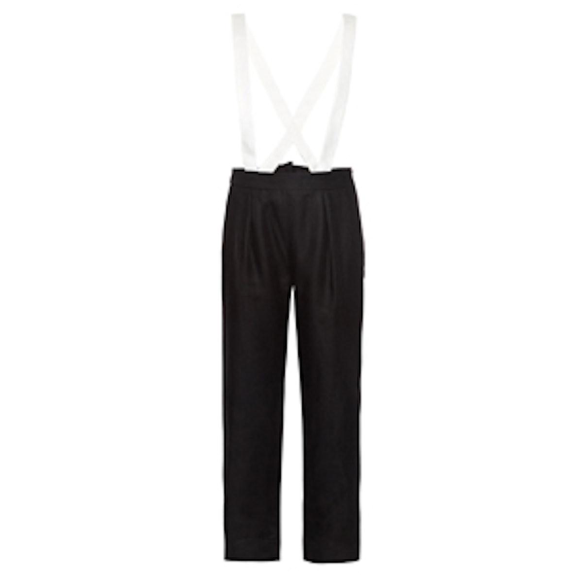 Bi-Colour Linen Suspender Trousers
