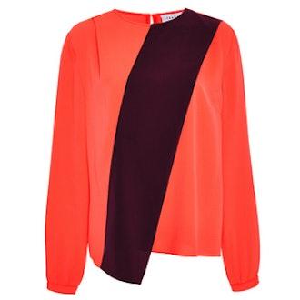Orange Silk Burgundy Stripe Alyssa Blouse