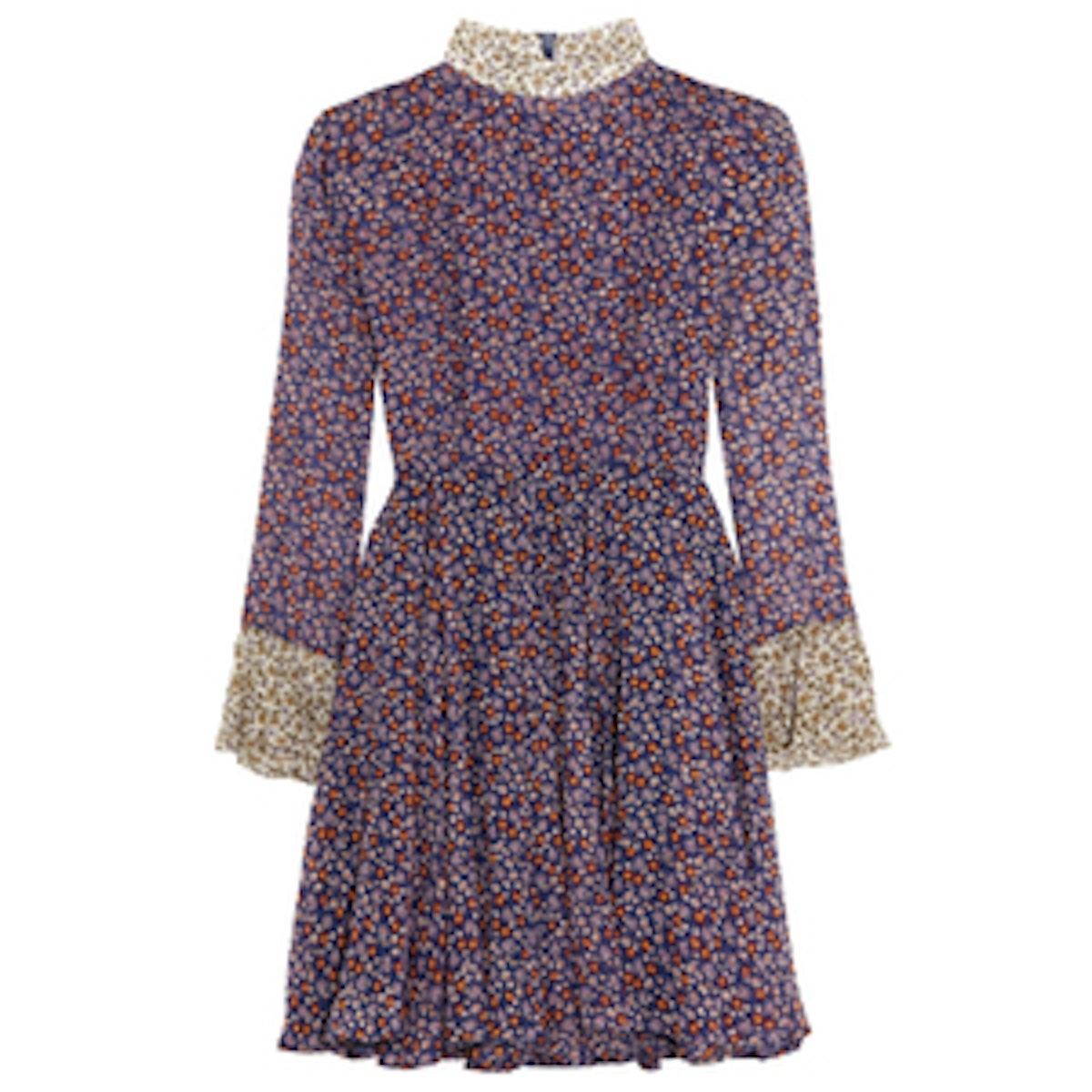 Ottoline Floral-Print Silk-Chiffon Mini Dress