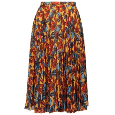 Daisy Print Pleated Midi Skirt