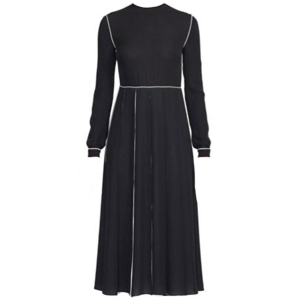 Colorblock Pleated Silk Dress