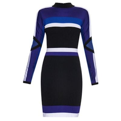 Colour-Block Long-Sleeved Dress