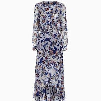 Long-Sleeve Paisley Ruffle Dress