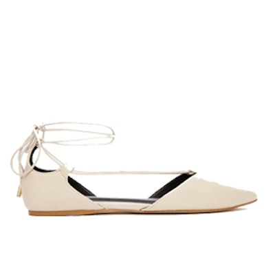Colyn Nude Ghillie Tie Up Flat Shoes