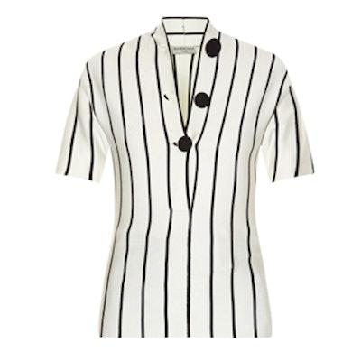 V-Neck Striped Silk-Knit Blouse