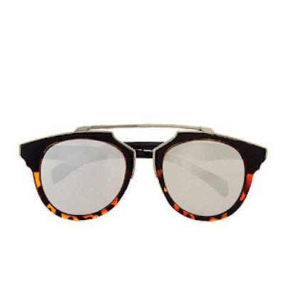Mirrored Retro Brow Bar Sunglasses
