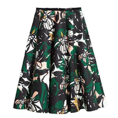 Patterned Scuba-Look Skirt