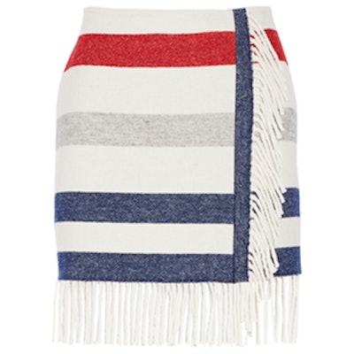 Striped Wool-Blend Mini Skirt