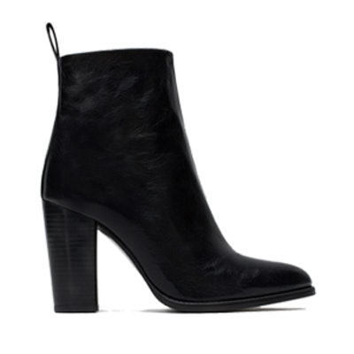 High Heel Leather Ankle Boots With Pull Tab