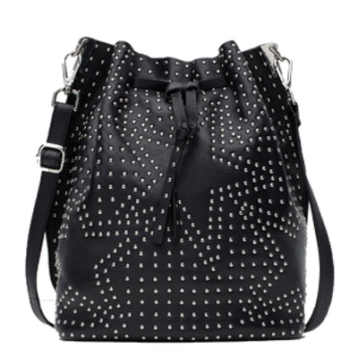 Leather Bucket Bag With Studs