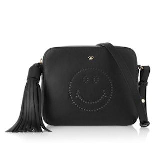 Smiley Perforated Leather Shoulder Bag