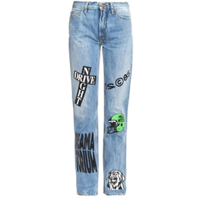 Norm Straight-Leg Vinyl-Transfer Jeans