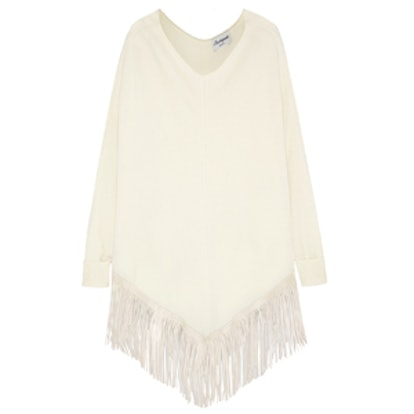 Fringed Leather and Cashmere Poncho