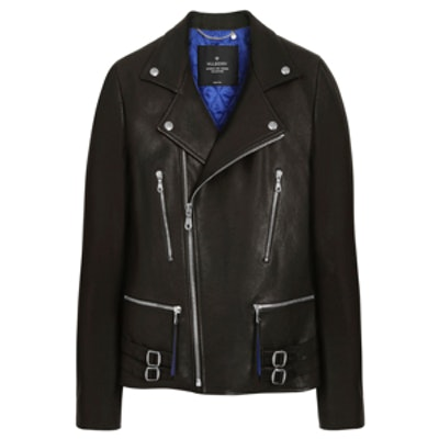 Georgia May Jagger Biker Jacket with Sapphire Blue