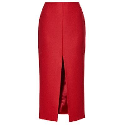 High-Waisted Wool-Blend Midi Skirt