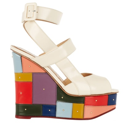 Mosaic Glossed-Leather Wedge Sandals