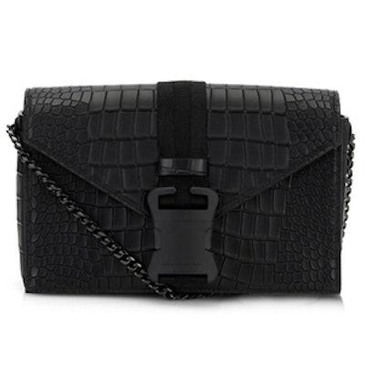 Safety Buckle Embossed Shoulder Bag