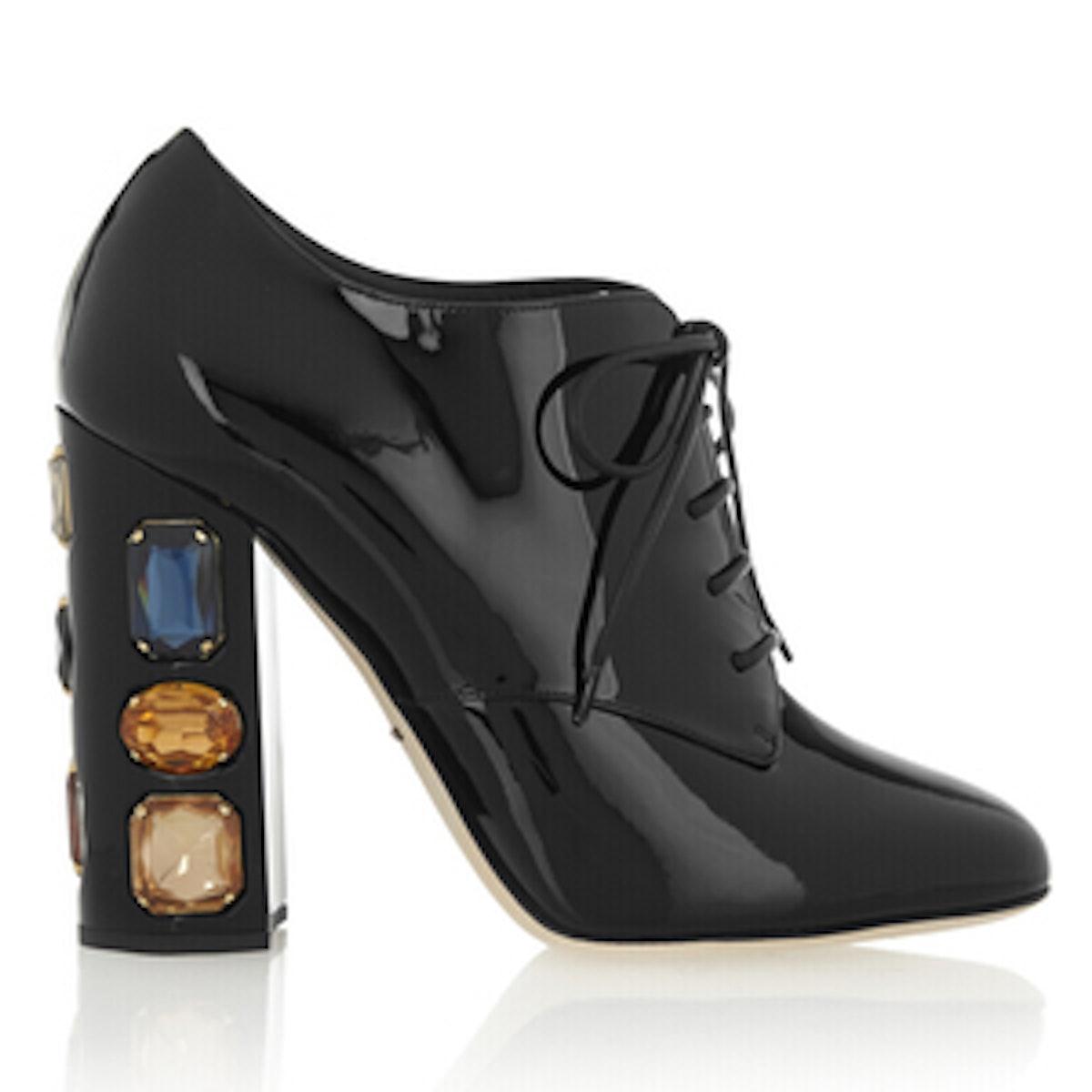 Swarovski Embellished Leather Ankle Booties