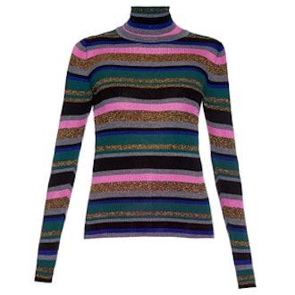 Striped Roll-Neck Wool-Blend Sweater