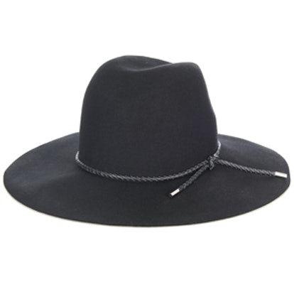 Woven-Leather and Felt Hat