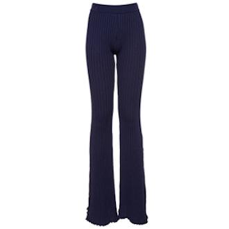 Navy Rib-Knit Bell-Bottomed Pants