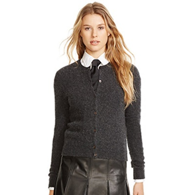Wool-Cashmere Cardigan in Charcoal Melange