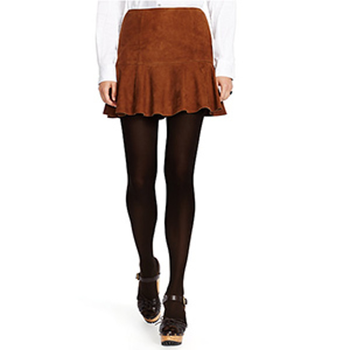 Suede Fit-and-Flare Miniskirt