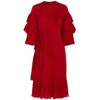 Pleated Ruffle Dress