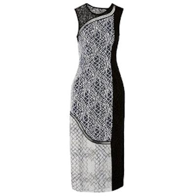 Paneled Embroidered Tulle Midi Dress