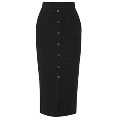 Honeycomb Stretch-Knit Midi Skirt