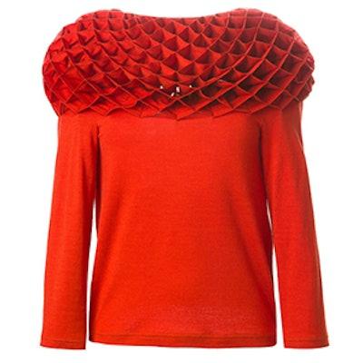 Textured Oversize Collar Top