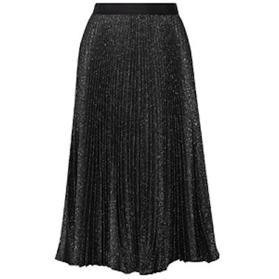 Pleated Metallic Cotton-Blend Midi Skirt
