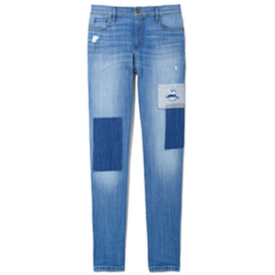 Relaxed Skinny Jeans in Patched Dark Indigo Wash