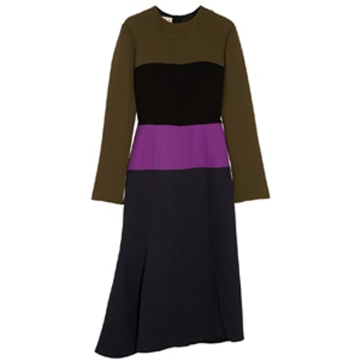 Color-Block Crepe Dress