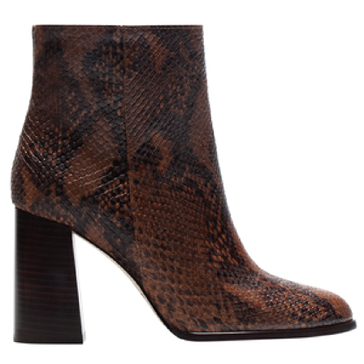 Snake-Print Ankle Booties