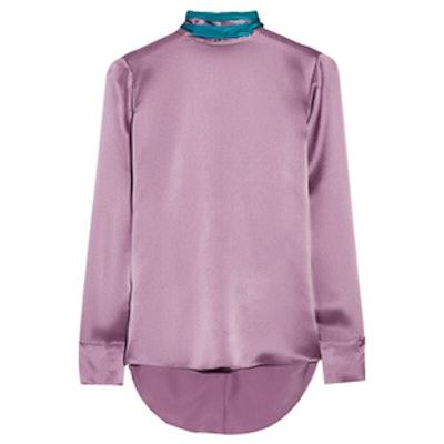 Two-Tone Silk Blouse