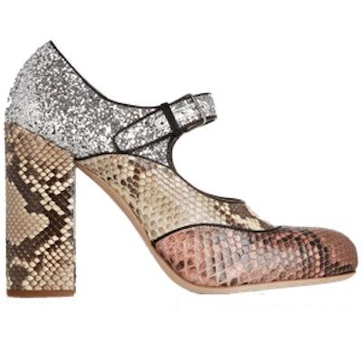 Glitter-Finished Python Mary Jane Pumps