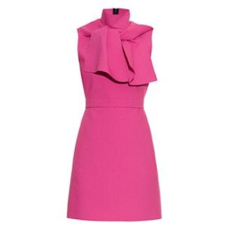 Neck-Tie Crepe Mini Dress
