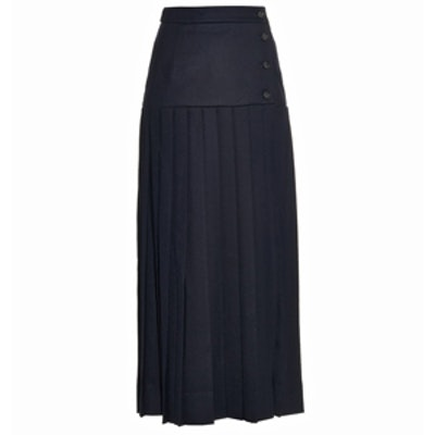 Buttoned Pleated Wool Midi Skirt