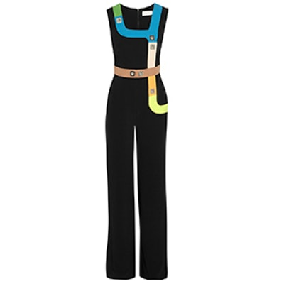 Track Embellished Stretch Cady Jumpsuit