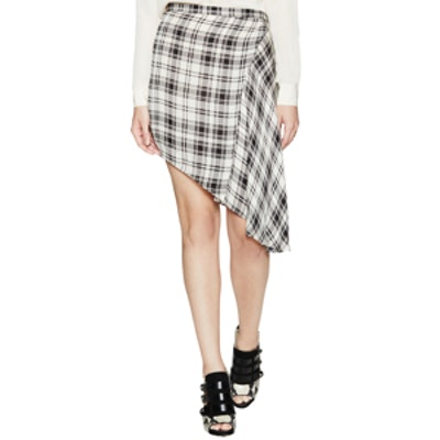 Silk Checked Asymmetrical Skirt