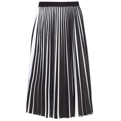 Bi-Colour Stretch-Wool Pleated-Front Skirt
