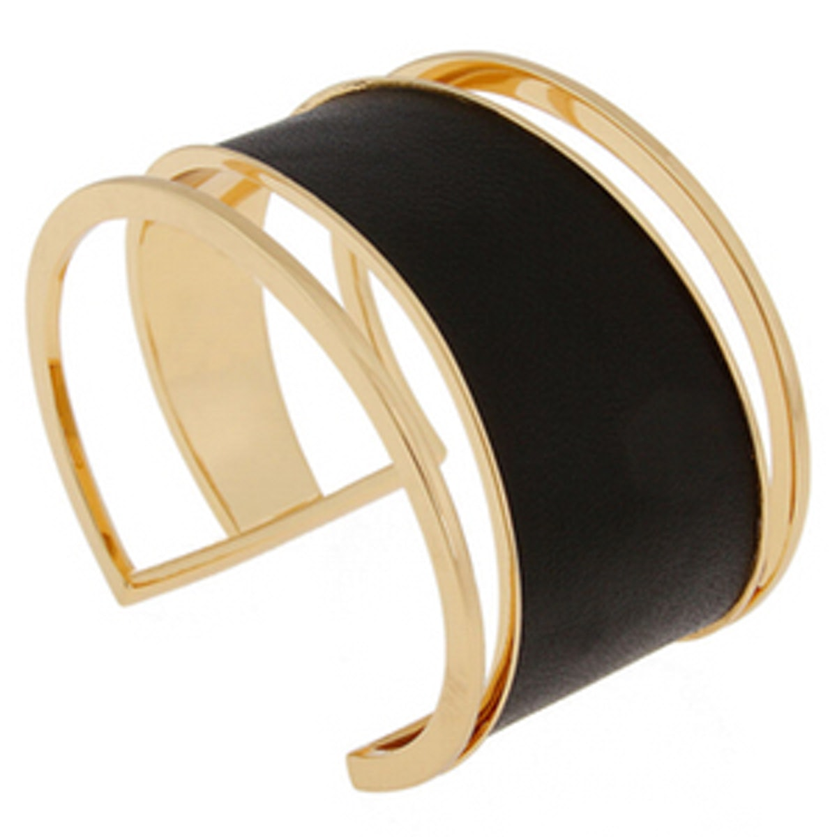 Black Leather Gold Plated Cuff Bracelet