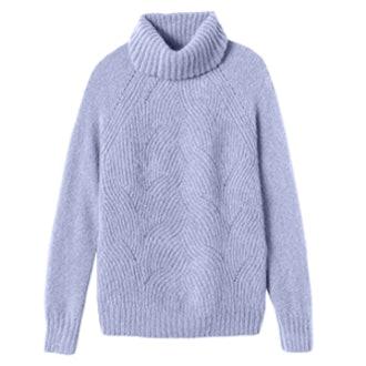 Brushed Pointelle Turtleneck Pullover