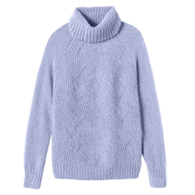 Brushed Pointelle Turtleneck Pullover