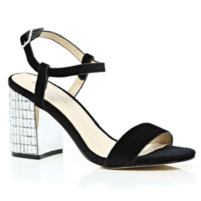 Black Velvet Gem Encrusted Sandal