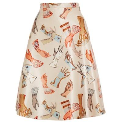 Printed Duchesse-Satin Skirt