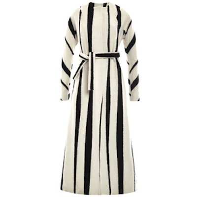 Striped Wool And Silk Blend Maxi Belted Coat